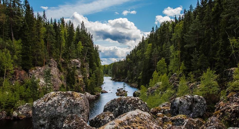Schweden Camper Ferien Wasserfall